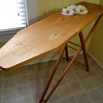 Retro Wooden Folding Table - Vintage Wood Ironing Board - Artisan's Compact Work Area - Repurpose Shelving or Workstation Desk or CounterTop