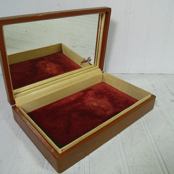 Vintage Wooden Hadley Jewelry Box & Original Mirror - Retro Men Dresser Valet with Rust Color Velvet Interior - Accessories Vanity Organizer