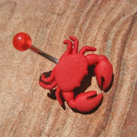 Virgo Crab Belly Button Jewelry Ring- Red Navel Piercing Nautical Scorpion Nautical Stud Bar Barbell