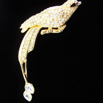 Nolan Miller Bird Brooch, Glamour Collection, Rhinestone Brooch, Vintage Jewelry, Bird of Paradise, Pave Rhinestone, Rhinestone Pin, Brooch