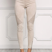 Taupe Acid Wash Embossed Zipper Pants