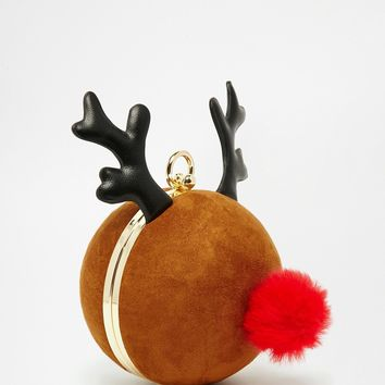 Skinnydip Exclusive Reindeer Glitter Cross Body Bag at asos.com