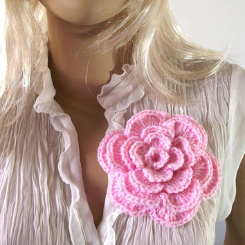 Crochet PATTERN FLOWER Brooch Pin Embellishment Hat adorn