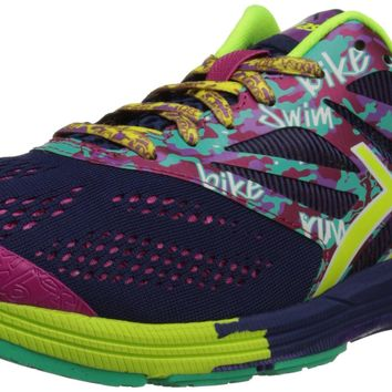 asics womens gel noosa tri 10 running shoes navy flash yellow hot pink 8 5 b m us  number 1