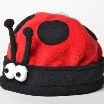 Children's carnival fashionable handmade red black hat in form Ladybird headwear