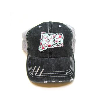Connecticut Trucker Hat - Distressed - Floral Fabric State Cutout