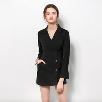 Black Long Sleeves Button Up Detailing Deep V-neckline Dress