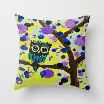 :: Gemmy Owl in the Jewel Tree :: Throw Pillow by :: GaleStorm Artworks ::