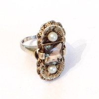 Art Nouveau Ring, Smokey Topaz with Pearl, Sterling Silver, Cantinelle, Fahrner, Vintage SALE