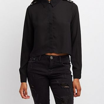 Button-Up Crop Top | Charlotte Russe