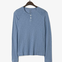 L/S Henley- Brittany Blue