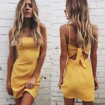 Summer Fashion Sexy Straps Show Thin Package Buttocks Pure Color Back Knot Dress