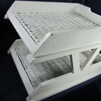 Desk Organizer Chippy White File Folder Bin Work At Home Wicker Desk Accessories