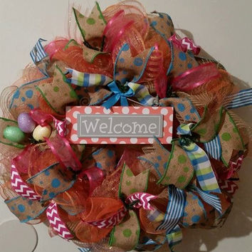 Easter Deco Mesh wreath Natural Jute Door Wreath with Bunny Friends, colored eggs, picks and ribbons. Spring wreath door decor easter wreath
