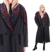 Velvet and Wool Long Black Coat 80s 90s Vintage Outerwear Colorful Avant Garde New Wave Minimalist Clothing Womens Plus Size Size XL