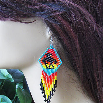 Native American Inspired Earrings - End Of The Trail Beaded Earrings - Fringe Dangle Earrings - Drop Dangle Earrings - Beaded Fringe