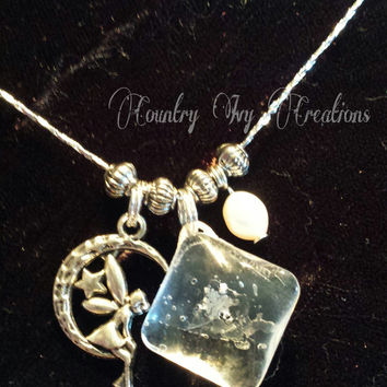 Real Preserved Snowflake for sale, Necklace, Real Snowflake, Frozen, OOAK, coulter pearl, fairy
