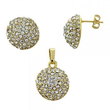 Gold Layered Earring and Pendant Adult Set, Ball Design, with Crystal, Gold Tone