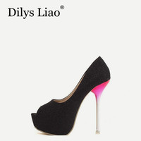 Dilys Liao Shoes Woman Sequins Sexy Red Glass High Heel Shoes Open Toe Platform Women Pumps Wedding Party Shoes Gold White Black