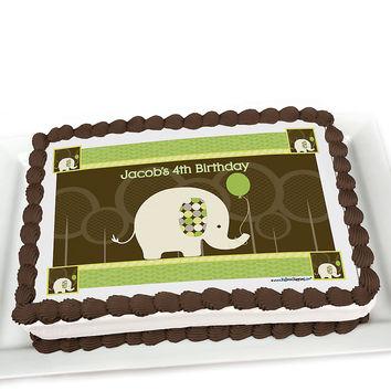 Elephant - Personalized Birthday Party Cake Toppers