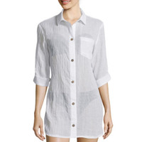 Wearabouts® 3/4-Sleeve Oversized Shirt Swim Cover-Up