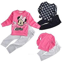 kids minnie mouse clothes sets 2pcs