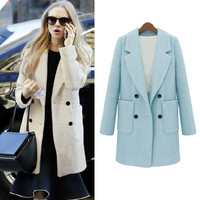 Celebrity Style New Women Coat Notched Collar Double Breasted Medium Long Slim Outerwear Light Blue