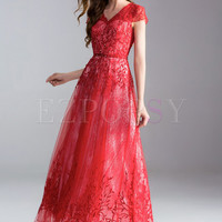 Lace Nail Bead Slim Prom Dress