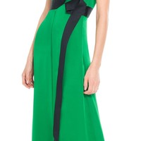 COLOUR-BLOCKED FEATHERWEIGHT SILK CHARMEUSE DRESS by Leon Max | Max Studio