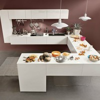 Lacquered fitted kitchen with peninsula 36e8 Collection by Lago | design Daniele Lago