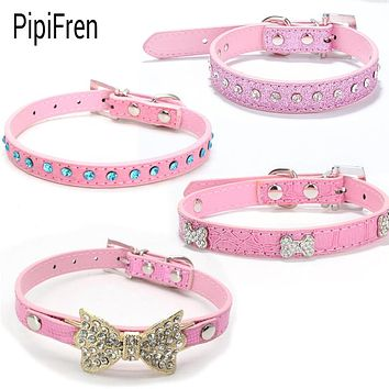 PipiFren Pink Small Cats Collars Breakaway Kitten Rhinestone Leash Collar Accessories