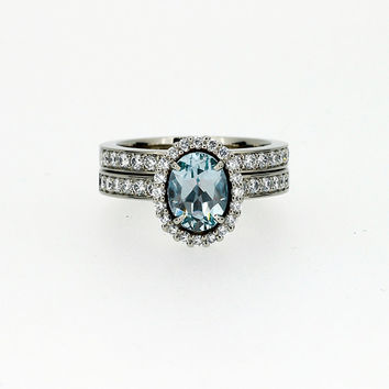 Aquamarine halo engagement ring set, diamond ring, white gold, diamond halo, oval aquamarine ring, diamond wedding, custom, light blue, band