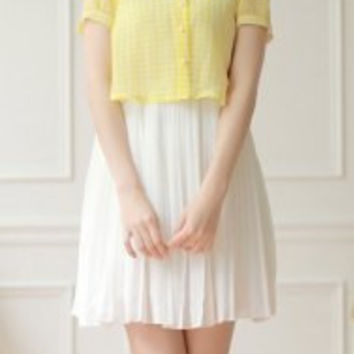 Faux Twinset Peter Pan Collar Short Sleeves Plaid Pleated Sweet Dress For Women