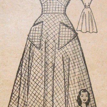 1940s Tea Dress Sewing Pattern Anne Adams 4827 Bust 31 Front Lap Bodice