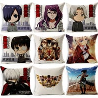 Japanese anime Cushion Cover for Sofa Seat Pillow Cover Tokyo Ghoul Pillow Case Cartoon The attacking J517Titan Home Textile