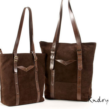 Brown leather tote bag. Durable brown suede bag. Leather handbag,  laptop bag.