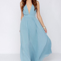 Light Blue V-Neck Cutout-Back Chiffon Maxi Dress