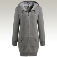 Grey Long Sleeve Zip-Up Front Pocket Drawstring Hoodie