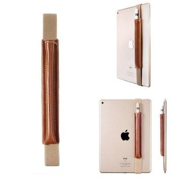 DCCKJY1 Slim PU Leather Pencil Stylus Pen Holder Sleeve Protective Case with Elastic Band for iPad Pro