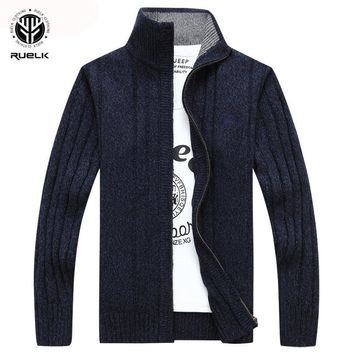 RUELK Sweater Men Winter Wool Thick Male Cardigan Fashion Brand dc5c19fe2