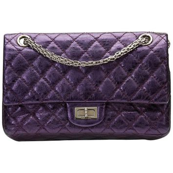 2007 Chanel Violet Metallic Aged Calfskin 2.55 Reissue 225 Double Flap Bag