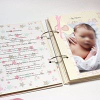 Baby Girl Memory Book Fully Finished with Photos, Notes and Decorations