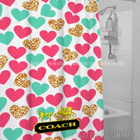 Coach Heart Blue Pink Luxury Design High Quality Shower Curtain 60 x 72 Inch