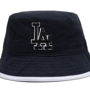 Los Angeles Dodgers Full Leather Bucket Hats Blue