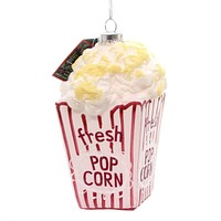 Holiday Ornaments POPCORN Glass Movie Theater 15145