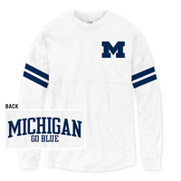 SEARCH League Outfitters University of Michigan Ladies White Oversized Rah Rah Tee