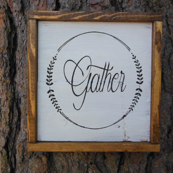 "Joyful Island Creations ""Gather"" wood sign, thanksgiving sign, fall decor, wood framed sign, thanksgiving decor, small fall sign"