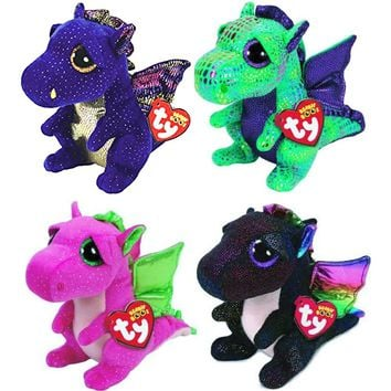 "Pyoopeo Ty Beanie Boos 6"" 15cm 4pcs Dragon Set Drala Saffire Cinder Anora Plush Regular Stuffed Animal Collectible Soft Doll Toy"