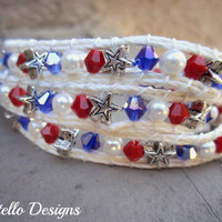 All American Bracelet Stars Red White and Blue  Triple Wrap Bracelet/Anklet Duo