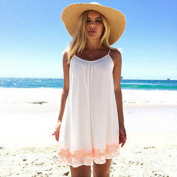 White Harness Backless Short Summer BOHO Sundress
